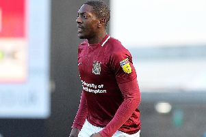 Marvin Sordell made his Cobblers debut in Saturday's 4-0 defeat to Colchester