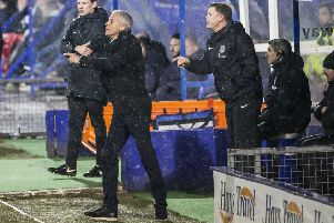 Cobblers boss Keith Curle and assistant Colin West