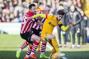 Jack Bridge in action during the 1-1 draw at Lincoln City last Saturday