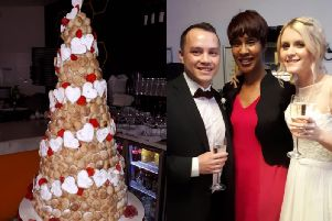 Sherone Burt presided over happy couple Maddie Jones and Alex Sung's wedding in Pizza Express, complete with a dough ball cake
