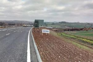 The new link road, pictured looking from the A45 near Weedon towards Flore, has been shut in both directions after a fuel spill and lorry crash. File picture.
