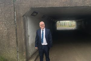 Cllr Liam Mackle at the Portadown Road underpass in Lurgan