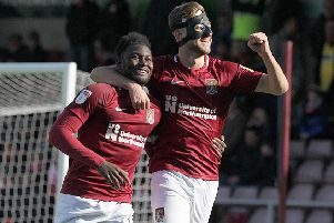 Aaron Pierre celebrates scoring his goal with Charlie Goode (Pictures: Sharon Lucey)