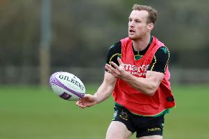 Rory Hutchinson in training at Saints this week