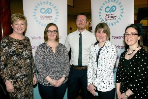 Among those attending the annual Northern Childcare Partnership conference were (from left): Jenny Adair, Northern Childcare Partnership manager, Health and Social Care Board, Nadine Thompson Kirkpatrick, Glenview Preschool, Maghera, Tomas O'Neill, Comhairle na Gaelscolaiochta, Julie Lennox, Gold Sure Start, Cookstown and Anita Mason, Childcare Partnership training officer.
