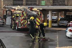Firefighters at the blaze at Holiday Inn