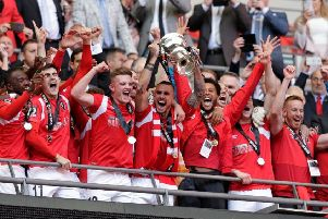Salford City celebrate their National League play-off final win at Wembley