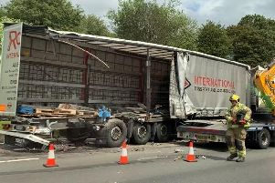 The scene of the crash on the M1. Picture via @officialdjmagik