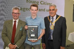 Lincolnshire County Council awards, presented by leader of LCC Martin Hill (left) and chairman of LCC Tony Bridges (right) to Young Citizen of the Year, Jack Covill-Lowndes of Wainfleet.