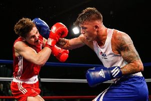 Jordan Reynolds fighting for England earlier in his career