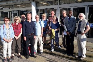 Campaigners calling for the Seaford health hub proposals to be halted by Lewes DIstrict Council, pictured before Monday's council meeting