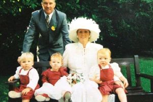 Walter McVeigh with his wife Margaret and triplets Blake, Megan and Ryan