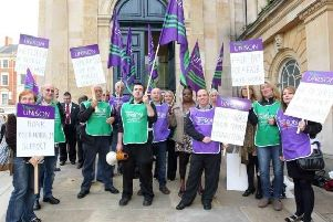 An earlier Unison demonstration outside the county hall in Northampton.