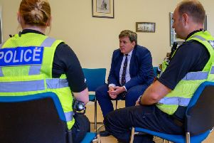 Minister for crime, policing and the fire service Kit Malthouse with Northamptonshire Police officers. Photo: Northamptonshire Police