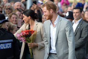 Prince Harry and Meghan Markle, the Duke and Duchess of Sussex, vist  Joff Youth Centre in Peacehaven. SUS-180310-191840001