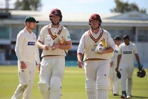 Alex Wakely and Richard Levi were all smiles after steering Northants to victory against Leicestershire on Friday afternoon (picture: Peter Short)
