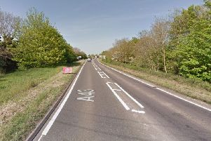 A Renault Clio and a Scania double-decker bus crashed on the A43 near Holcot. Photo: Google