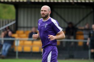 Adam Confue was out of luck for Daventry Town against Biggleswade