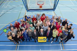 Pictured with some of the participants at the Take 5 event are: (central) Jeff Scroggie, Older People Health Development Specialist, The Mayor of Lisburn & Castlereagh City Council, Councillor Alan Givan, Chairman of the Leisure & Community Development Committee,  Alderman James Tinsley, Vice-Chair of the Leisure & Community Development Committee, Councillor Hazel Legge, Paul Givan MLA and Age Friendly Champion, Alderman Amanda Grehan.