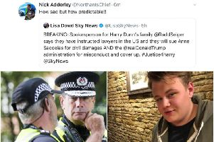 Northamptonshire's chief constable Nick Adderley has been criticised for an 'insensitive' tweet relating to the death of Harry Dunn.
