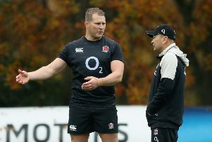 Dylan Hartley and England boss Eddie Jones