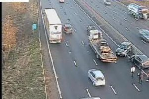 Highways England cameras picked up the accident on the M1 on Wednesday morning.