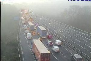 Highways England cameras picked up queues on the M1 on Wednesday morning.