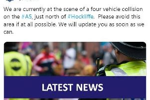 Beds Police tweeted their warning at just after 8am