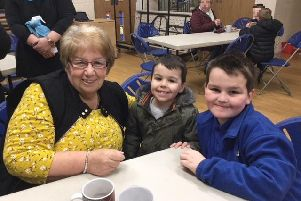 Hartley (right) with his Nan (left) and cousin (middle) at the big breakfast.