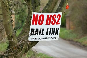 An anti-HS2 sign in Culworth, south Northamptonshire, where the high-speed railway line is due to pass nearby, in 2017