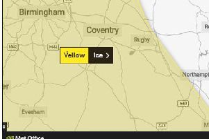 Met Office issued a weather warning for ice covering parts of Northamptonshire
