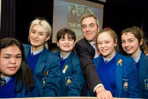 James Nesbitt and pupils from St Mary's College.