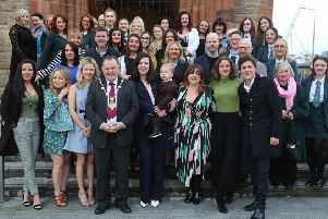 The Mayor of Derry and Strabane, councillor Maoliosa McHugh, with cast and crew from the hit TV programme Derry Girls with family and friends at the reception in the Guildhall.