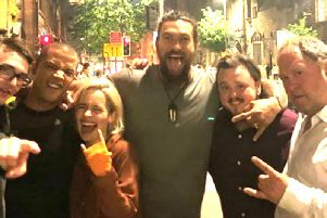 Hollywood actor, Jason Momoa (centre), pictured with his former Game of Thrones stars during a recent night out in Belfast city centre. Pictured from left, Isaac Hempstead Wright (Bran Stark), Jacob Anderson (Grey Worm), Emilia Clarke (Daenerys Targaryen), Jason Momoa (Khal Drogo), John Bradley (Samwell Tarly) and Mark Addy (Robert Baratheon). (Photo: Jason Momoa/Instagram)