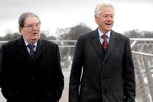 2014: John Hume with former US president Bill Clinton in Derry.
