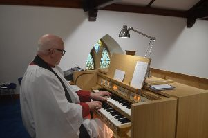 Rev Canon Paul Hoey performing on the new Makin Organ which will feature in next month's Organ Marathon fund-raising event.
