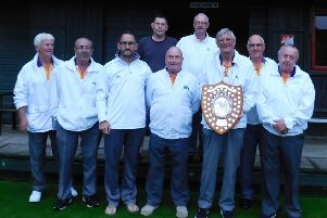 West Ward with the Munday Shield after their dramatic one shot victory. (Back row, from the left) ' Dick Noble and Rod Maplethorpe. (Front row): Robin Wyld, Peter Jessop, Darren Lord, Phil Afford, Steve Johnson (with shield), Dave Hilton, Richard Day.
