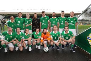 Bound for Mexico...... The Northern Ireland Men and Women's teams with local men Marc Cross (number 10) and Matthew Gallagher (captain, Number 4) in the front row.