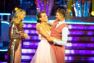 BBC handout photo of Tess Daly (left) during the results show with Kate Silverton and dance partner Aljaz Skorjanec who are the latest couple to leave Strictly Come Dancing.