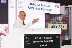 Auctioneer Nick Allison selling ARM 88N - which was eventually sold for �12,200