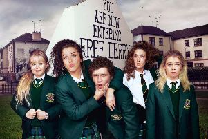 'Derry Girls' were filming in and around the Bogside again yesterday before moving to the city centre today. (Photo: Channel 4)