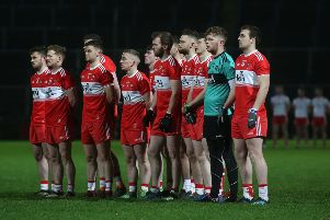 Derry line out for their opening Bank of Ireland Dr. McKenna Cup, tie against Tyrone. (�INPHO/Lorcan Doherty)
