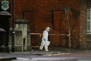 Police investigators at the scene of the stabbing incident in Coleraine. Pic by Steven McAuley/McAuley Multimedia