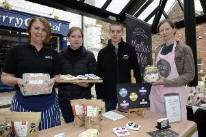 Pictured at the Artisan Market in The Craft Village back in 2015 were, from left, Gillian Hamilton, Hamilton's Organic Farm, Julie Hickey, Tom Hickey, Dart Mountain Cheese, and Linda McClean, Mallon Mia Gourmet Marshmallows. DER1715-132KM