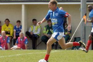 Paul Walsh in familiar style playing for a Pompey legends team in 2016
