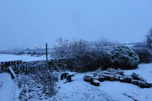 A snowy scene in Carndonagh this morning.