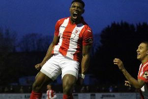 Top scorer Lee Ndlovu gave Brackley Town the lead in Saturday's Buildbase FA Trophy third round tie at Chesterfield