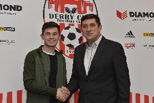 Derry City boss, Declan Devine pictured with Michael McCrudden who has signed ab 18 month pre-contract with the club.