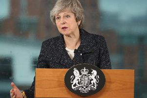Prime Minister Theresa May speaking in Belfast on Tuesday. (Photo: P.A.)