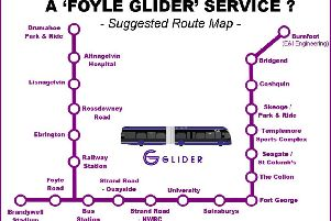 This indicative route map helps bring to life the big transport enhancement a 'Glider' could be for Derry.